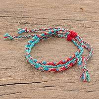 Glass beaded macrame strand bracelet, 'Colorful Fiesta' - Artisan Crafted Glass Beaded Macrame Strand Bracelet