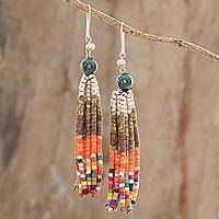 Jade and ceramic bead earrings, 'Traditions' - Natural Jade and Ceramic Beaded Waterfall Earrings