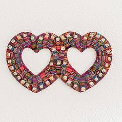 Cotton wall decor, 'Histories of Love' - Heart-Shaped Cotton Worry Doll Wall Decor from Guatemala