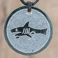 Jade pendant necklace, 'Toj' - Jade Shark Pendant Necklace from Guatemala