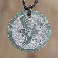 Jade pendant necklace, 'Tz'ikin' - Hand-Carved Jade Eagle Pendant Necklace from Guatemala