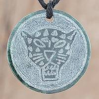Jade pendant necklace, 'Ix' - Jade Jaguar Pendant Necklace from Guatemala