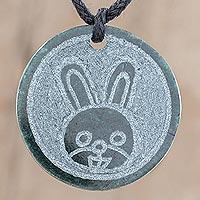 Jade pendant necklace, 'Q'anil' - Jade Rabbit Pendant Necklace from Guatemala