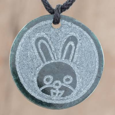 Jade pendant necklace, 'Q'anil' - Jade Rabbit Pendant Necklace from Guatemala