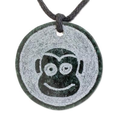 Jade Monkey Pendant Necklace from Guatemala