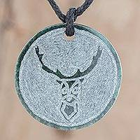 Jade pendant necklace, 'Kej' - Deer-Themed Jade Medallion Pendant Necklace from Guatemala