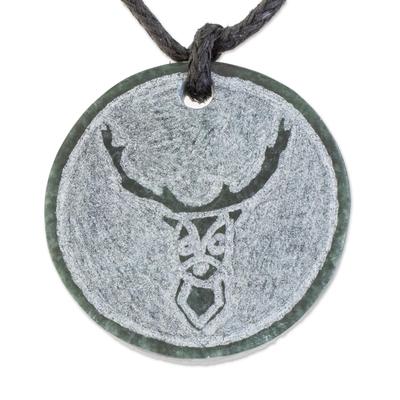 Jade pendant necklace, 'Kej' - Deer-Themed Jade Medallion Pendant Necklace from Guatemala