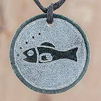 Jade pendant necklace, 'Tijax' - Fish-Themed Jade Medallion Pendant Necklace from Guatemala