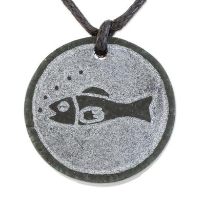 Fish-Themed Jade Medallion Pendant Necklace from Guatemala