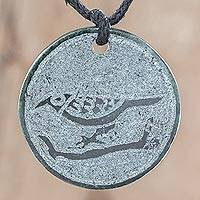 Jade pendant necklace, 'N'oj' - Bird-Themed Jade Medallion Pendant Necklace from Guatemala