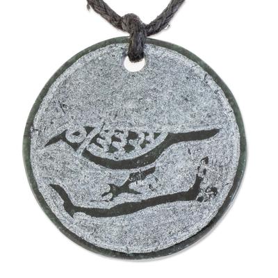 Bird-Themed Jade Medallion Pendant Necklace from Guatemala
