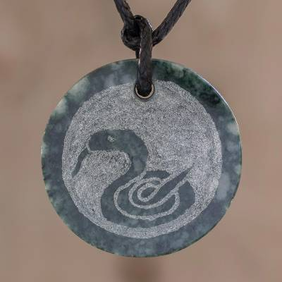 Jade pendant necklace, 'Nahual Kan' - Jade Nahual Kan Necklace for Men or Women