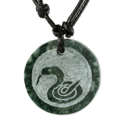 Jade pendant necklace, 'Nahual Kan' - Jade Nahual Kan Necklace for Men or Women
