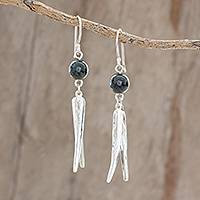 Jade dangle earrings, 'Elegant Plumage in Dark Green'