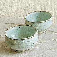 Ceramic bowls, 'Verdant Earth' (pair) - Mint Colored Handmade Ceramic Bowls (Pair)