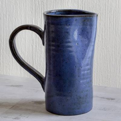Ceramic pitcher, 'Natural Indigo' - Indigo Blue Rustic Ceramic Pitcher