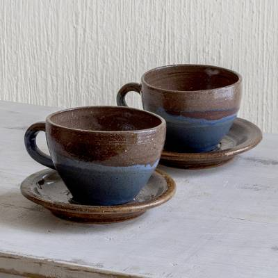 Ceramic cups and saucers, 'Earthy Appeal' (pair) - Blue and Brown Ceramic Cups and Saucers (Pair)