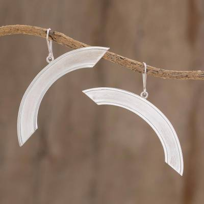 Sterling silver dangle earrings, 'Precarious Balance' - Semi-Circle Sterling Silver Dangle Earrings from Nicaragua
