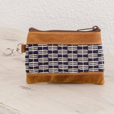 Leather accented cotton coin purse, 'Midnight Pattern' - Midnight and Eggshell Leather Accented Cotton Coin Purse