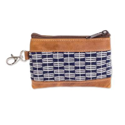 Midnight and Eggshell Leather Accented Cotton Coin Purse