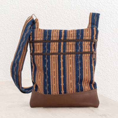 Leather accented cotton sling, 'Straight Paths' - Ginger and Midnight Striped Leather Accented Cotton Sling