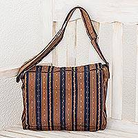 Cotton messenger bag, 'Straight Paths' - Striped Cotton Messenger Bag in Midnight and Ginger