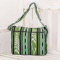 Cotton messenger bag, 'Salvadoran Paths' - Striped Green Cotton Messenger Bag from El Salvador