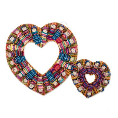 Cotton wreath, 'Quitapenas in Love' - Heart-Themed Worry Doll Cotton Wreath from Guatemala