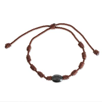 Jade pendant bracelet, 'Lovely Black' - Natural Jade Pendant Bracelet in Black from Guatemala