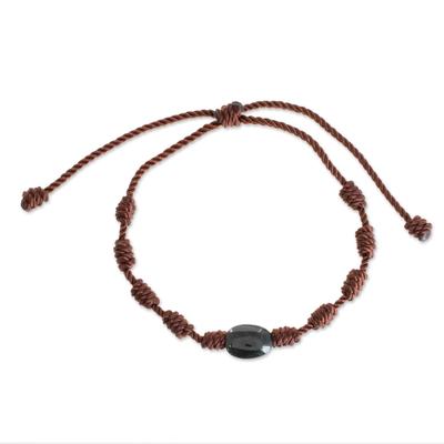 Natural Jade Pendant Bracelet in Black from Guatemala