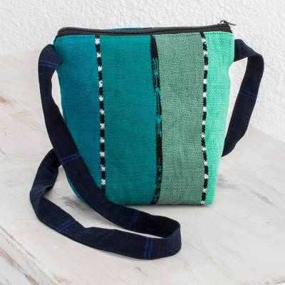 Cotton sling, 'Green Lake' - Striped Green Cotton Sling Crafted in Guatemala