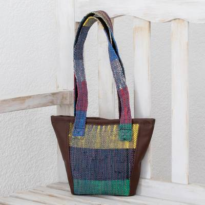 Cotton and recycled plastic shoulder bag, 'Love for the Earth' - Cotton and Recycled Plastic Shoulder Bag from Guatemala