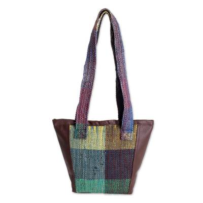 Cotton and Recycled Plastic Shoulder Bag from Guatemala