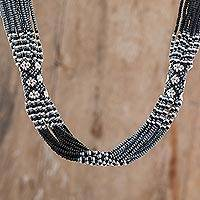Glass beaded strand necklace, 'Harmonious Elegance in Black' - Black and White Glass Beaded Strand Necklace from Guatemala