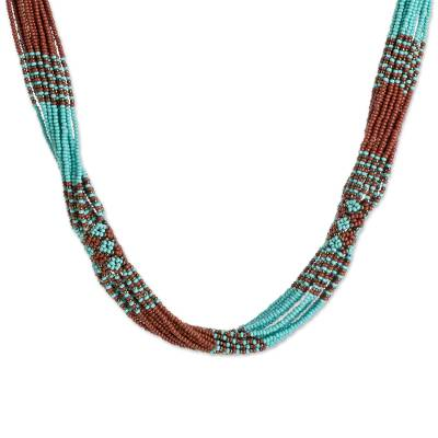 Brown and Turquoise Blue Glass Beaded Strand Necklace