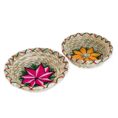 Embroidered Natural Fiber Decorative Baskets (Pair)
