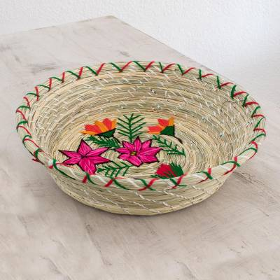 Natural fiber decorative basket, 'Love and Tenderness' - Floral Natural Fiber Decorative Basket from Guatemala