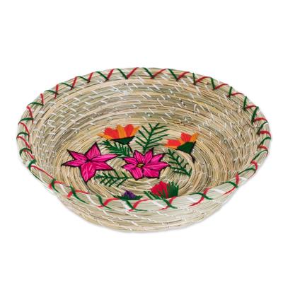 Floral Natural Fiber Decorative Basket from Guatemala