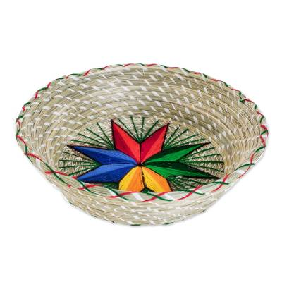 Colorful Star Natural Fiber Decorative Basket from Guatemala