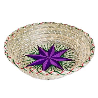 Purple Star Natural Fiber Decorative Basket from Guatemala