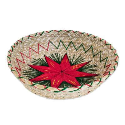 Red Star Natural Fiber Decorative Basket from Guatemala