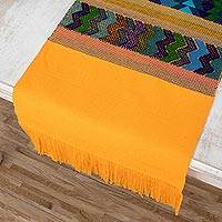 Cotton table runner, 'Colorful Geometry' - Yellow/Multi Guatemalan All Cotton Table Runner