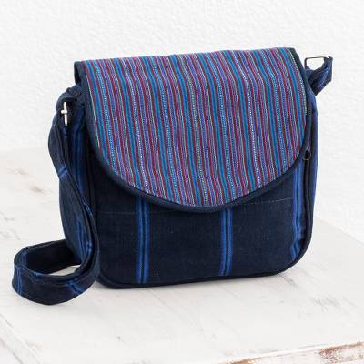 Cotton messenger bag, 'Dream of Color' - Striped Cotton Messenger Bag in Blue from Guatemala