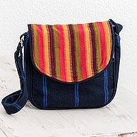Cotton messenger bag, 'Sunrise in Atitlan' - Bright Striped Cotton Messenger Bag from Guatemala