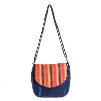 Bright Striped Cotton Messenger Bag from Guatemala