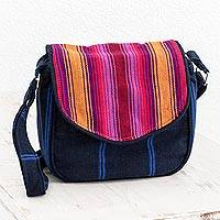 Cotton messenger bag, 'Summer Garden' - Vibrant Striped Cotton Messenger Bag from Guatemala