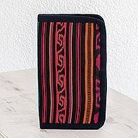 Cotton wallet, 'Colors of Atitlan' - Striped Geometric Cotton Wallet from Guatemala