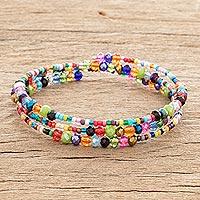 Glass and crystal beaded wrap bracelet, 'Happiness and Harmony' - Colorful Glass and Crystal Beaded Wrap Bracelet