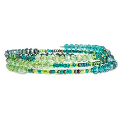 Glass and crystal beaded wrap bracelet, 'Ocean Siren' - Glass and Crystal Beaded Wrap Bracelet in Green