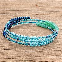 Glass and crystal beaded wrap bracelet, 'Ocean Glitter' - Blue and Green Glass and Crystal Beaded Wrap Bracelet